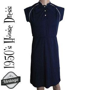Vintage Navy and White Polka Dot Midi House Dress